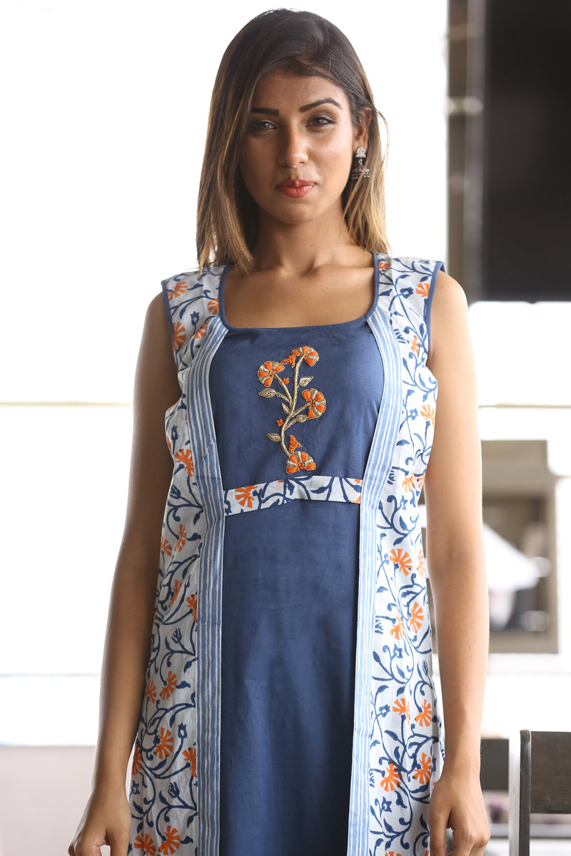 Blue Kurti - Ecstatic Floral and Embroidered Jacket Style