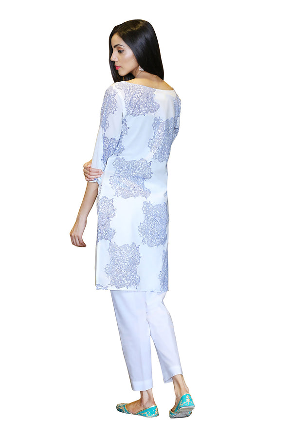 White Kurti - Check and Mate Side Slit