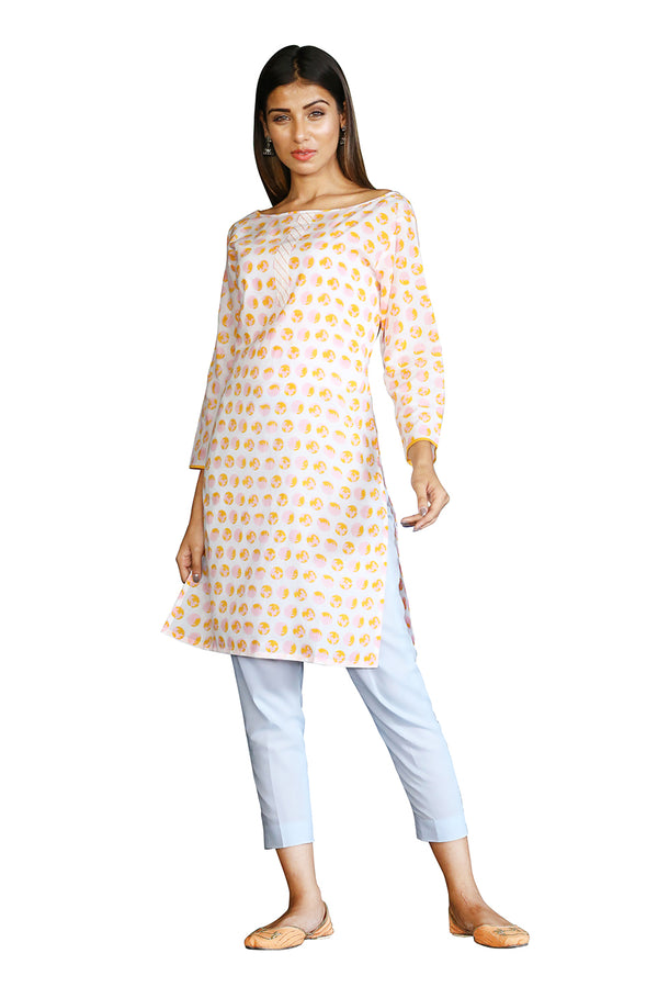 White Kurti - Fire Ball Polka Side Slit