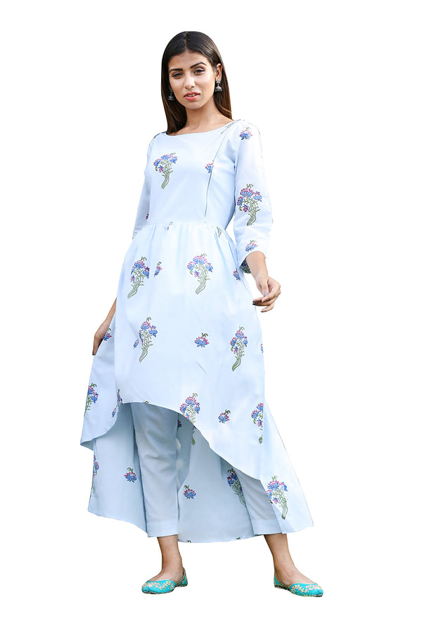 Blue Kurti - Lily Bouquet High-Low