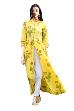 Yellow Kurti - Hybrid Lotus Front Slit