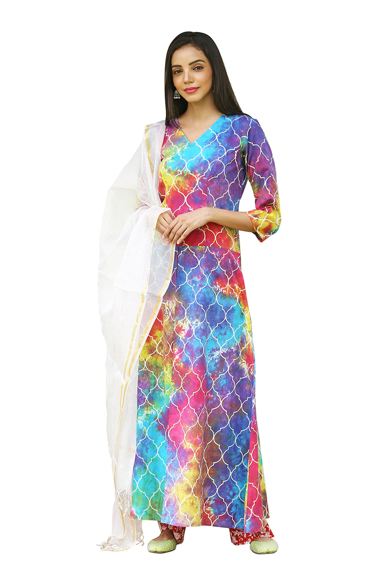 Multicolored Kurti - Persian Rangoli Floor Length