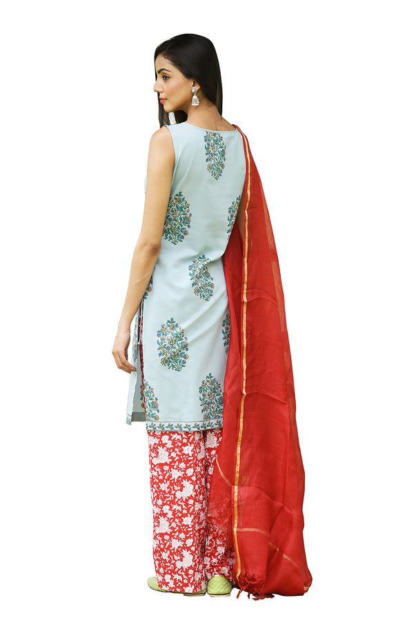 Green Kurti - Flower Bunch Side Slit