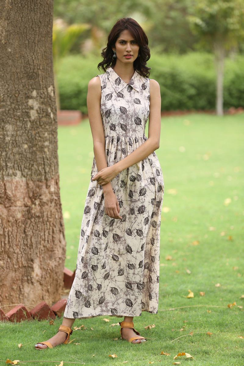 Beige Maxi Dress - Autumn Leaves