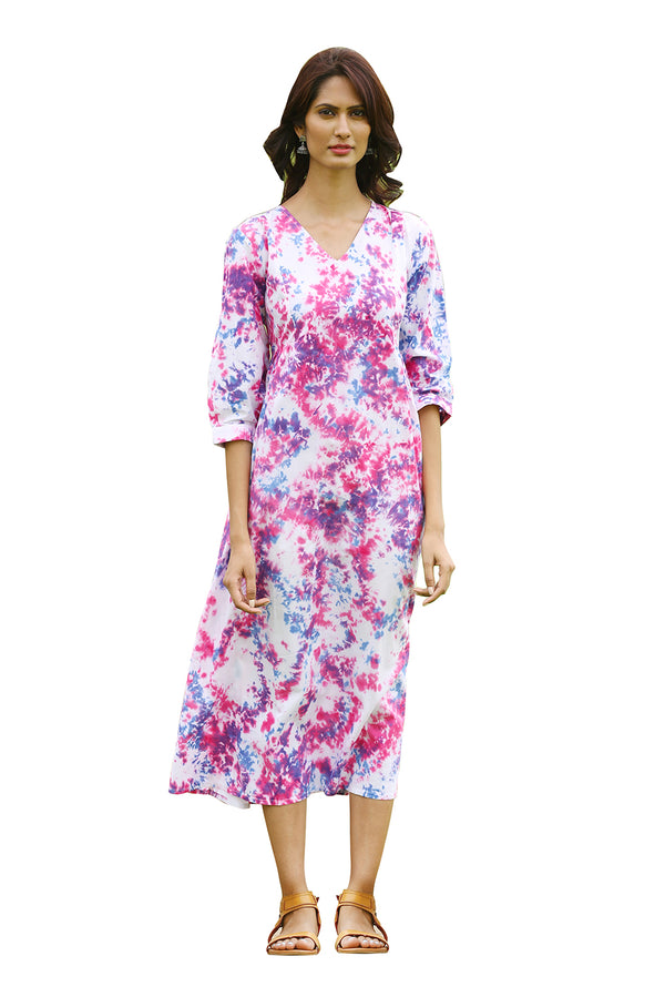 Multicolored Kurti - Plum Tie Dye Long Straight Cut