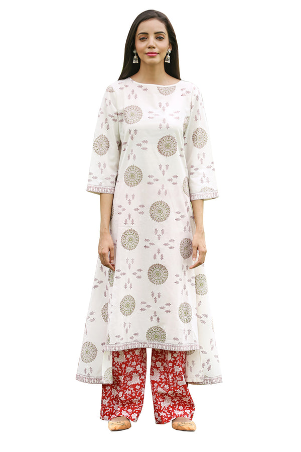 White Kurti - War Wheel High-Low