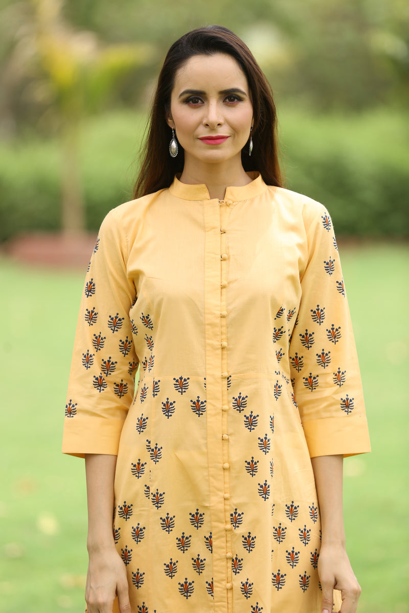 Orange Kurti - Bee Hive Princess Cut