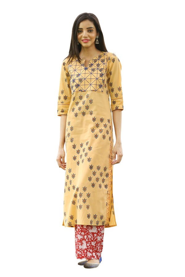 Orange Kurti - Bee Hive Side Slit