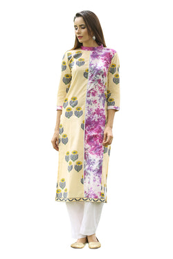 Multicolored Kurti - Sunflower Quad and Plum Tie Dye Side Slit