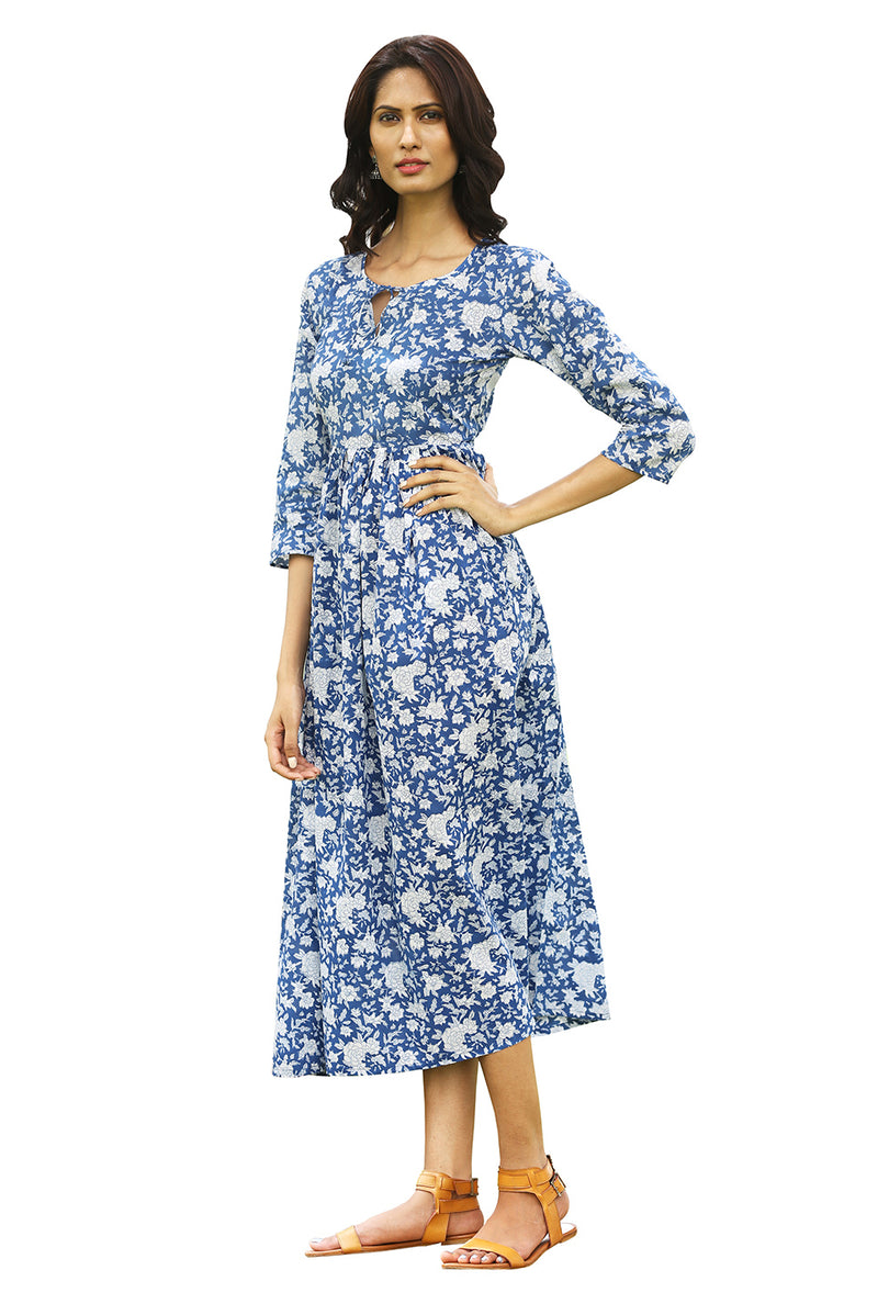 Blue Maxi Dress - Indigo Floral Bed