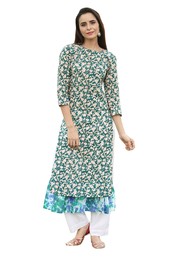 Green Kurti - Tsunami with Peacock Tie and Dye Side Slit