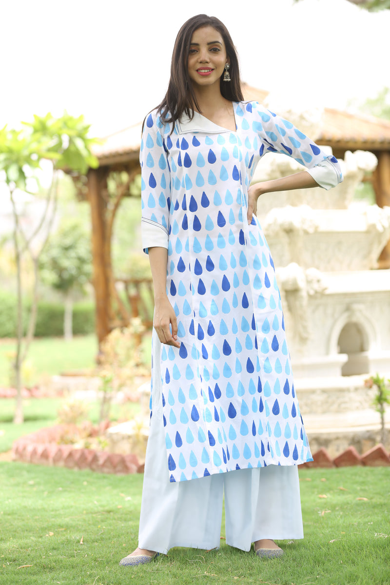 White Kurti - Drizzle Side Slit