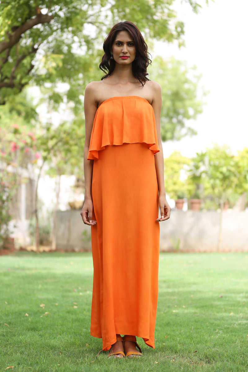 Orange Maxi Dress - Tangerine Bandeau