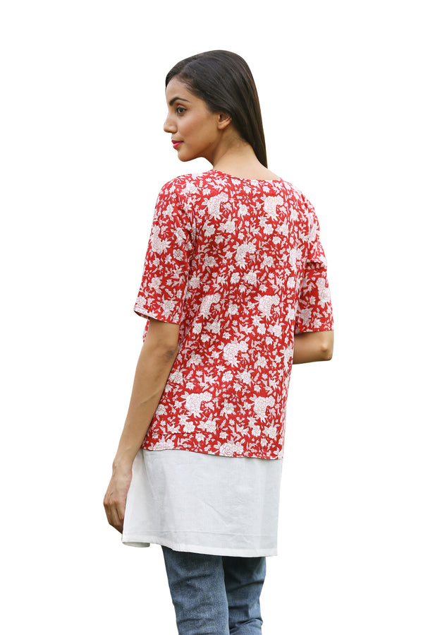 Red Top Kurti - Tsunami and Block