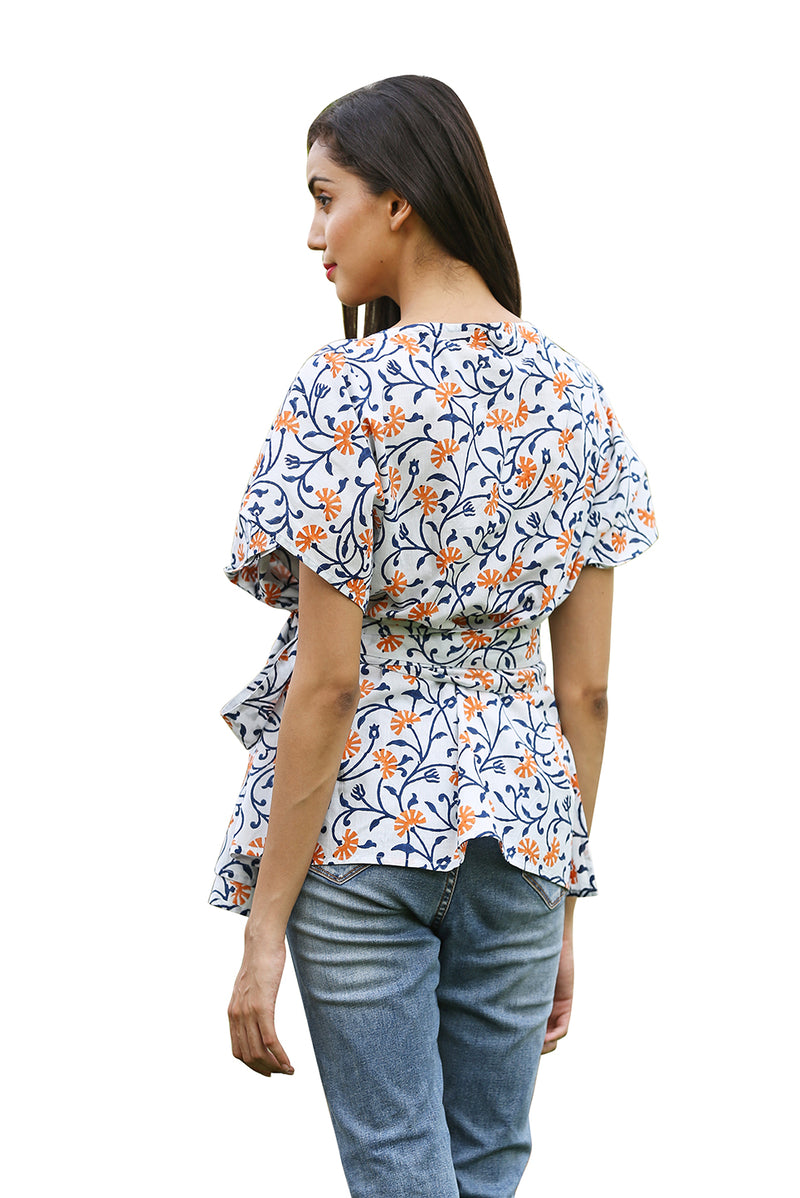 Multicolored Top - Ecstatic Floral Overlapping
