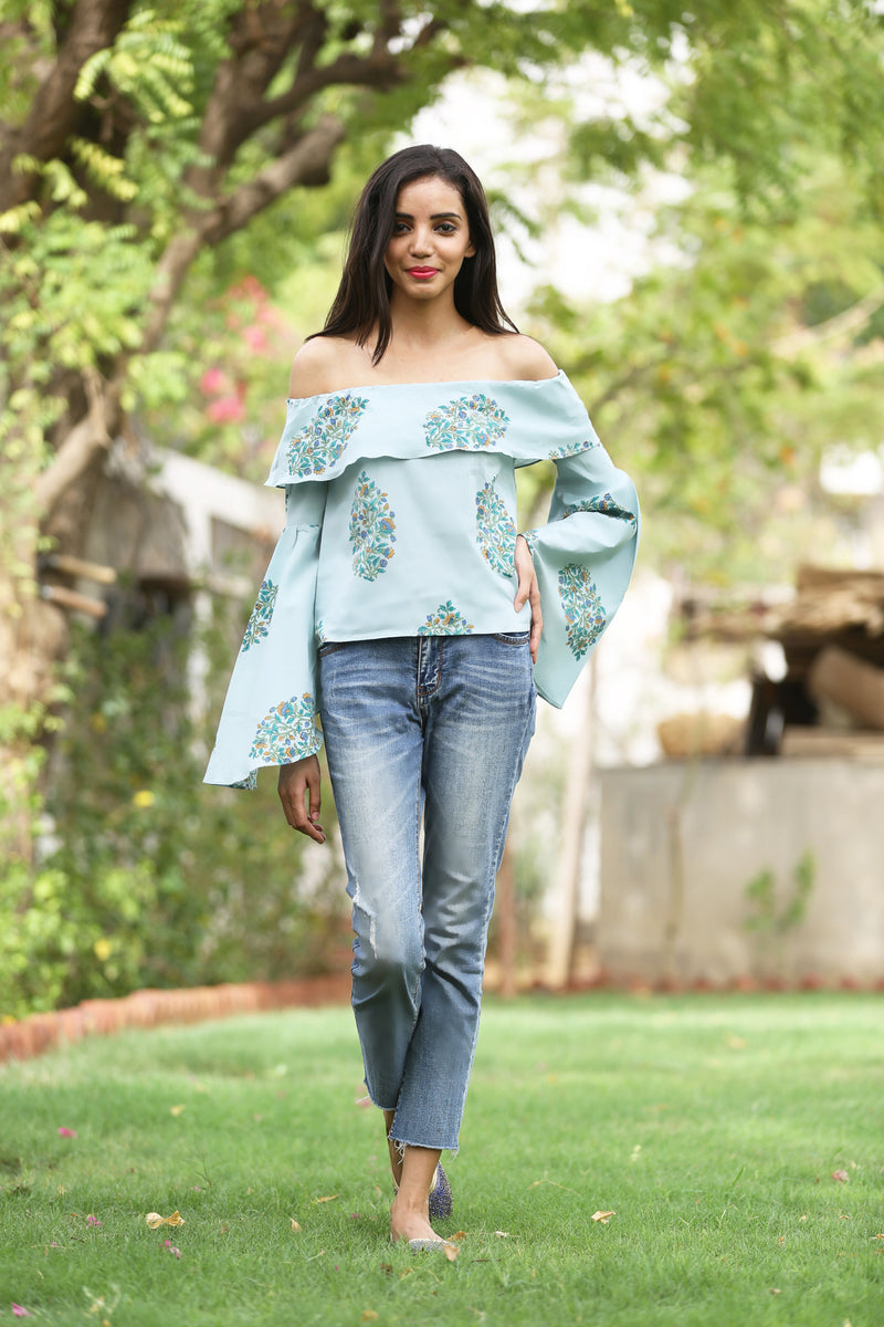 Green Top - Flower Bunch Off Shoulder