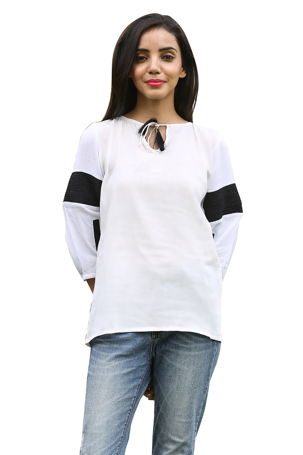 White Top - Black Chess Three Quarter Sleeves