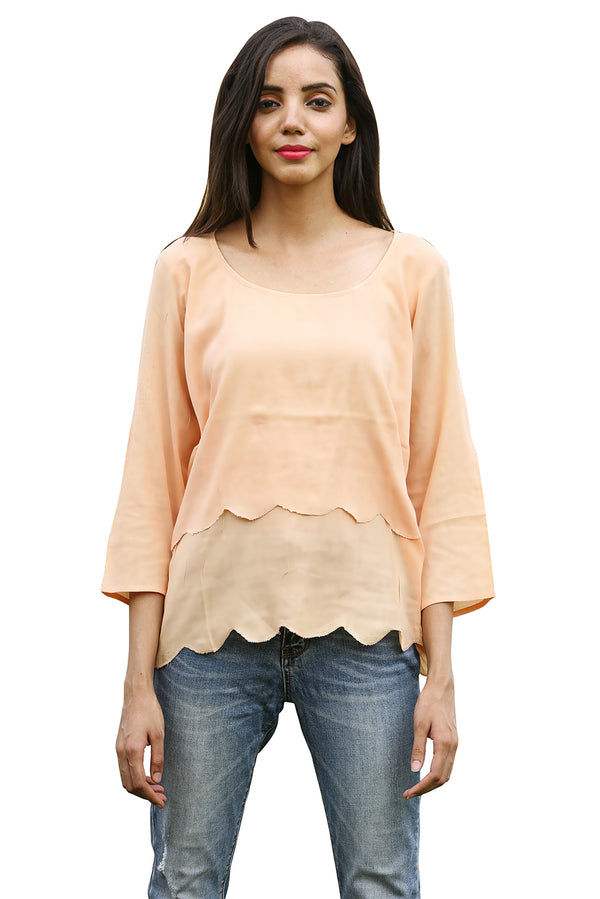Pink Top - Peach Scallop Three Quarter Sleeves