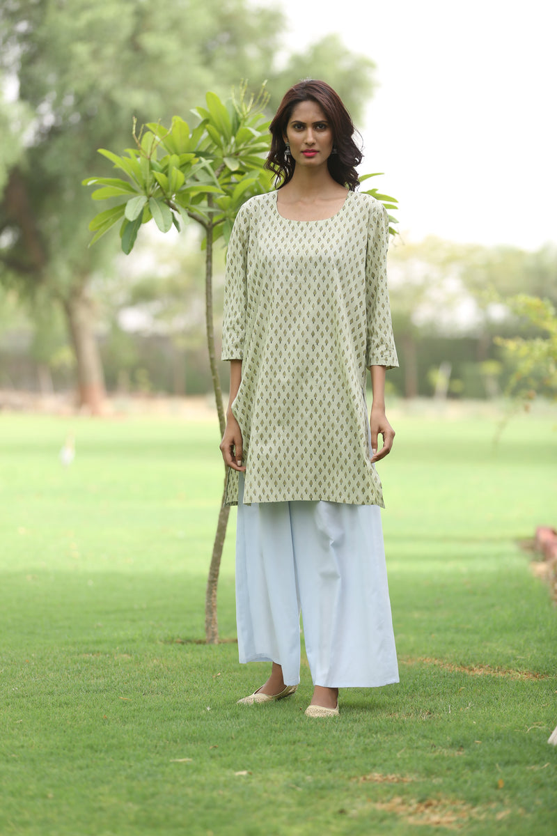 Green Kurti - Olive Miniature Tree Side Slit