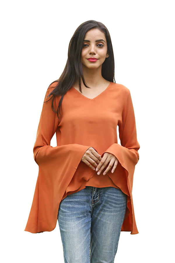 Brown Top - Rust Brown Bell Sleeves