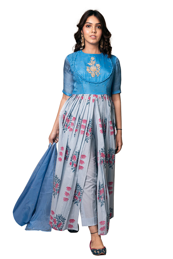 Blue Suit - Mughal Boota Front Slit
