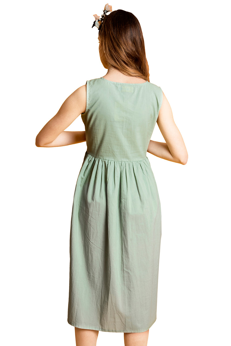 Green Dress - Flower Row Yoke