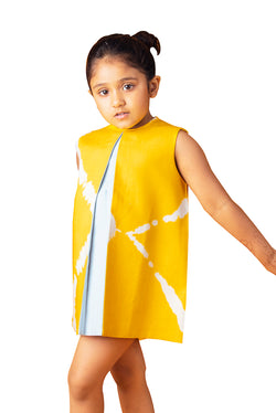 Yellow Dress - Tie Dye Box Pleat A-Line