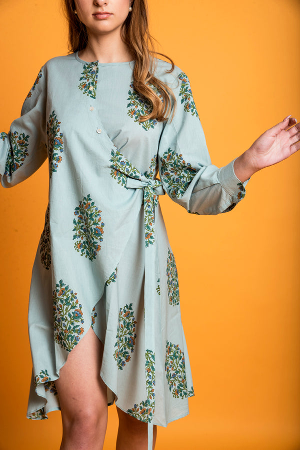 Green Kurti - Flower Bunch Indo-Western