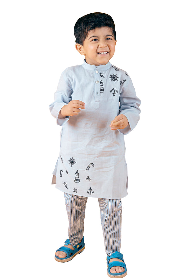 Blue Kurta Pyjama - Satelite Embroidered A-Line