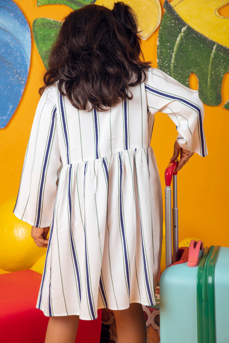 White Frock - Blue Striped Gathered
