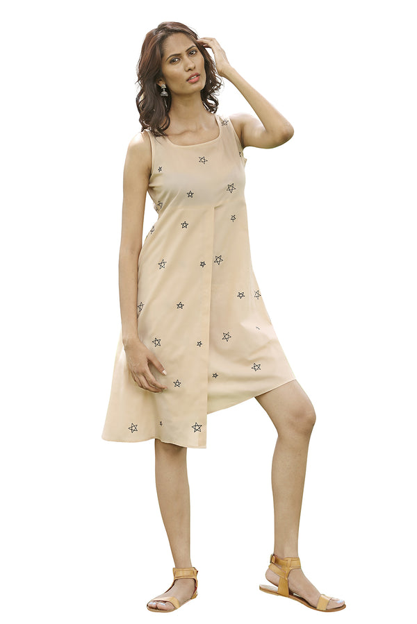 Beige Dress - Constellation Asymmetrical Closing