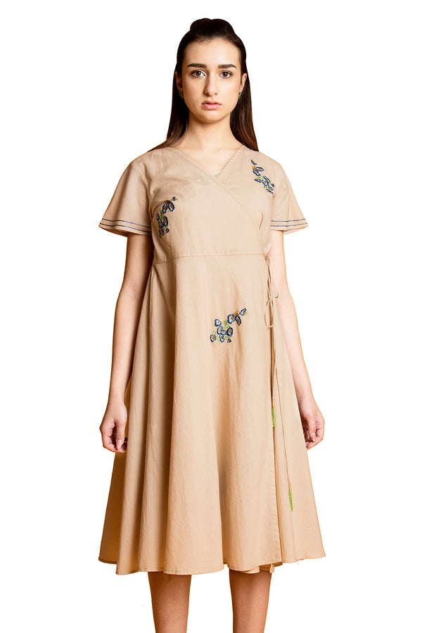 Beige Dress - Daisy Asymmetrical Closing