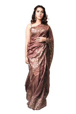 Brown Saree - Ganga Jamuna Tendril Block Print