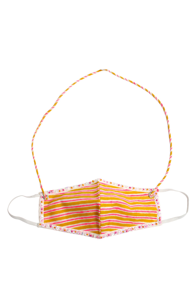 Orange Face Mask - Striped Embroidered