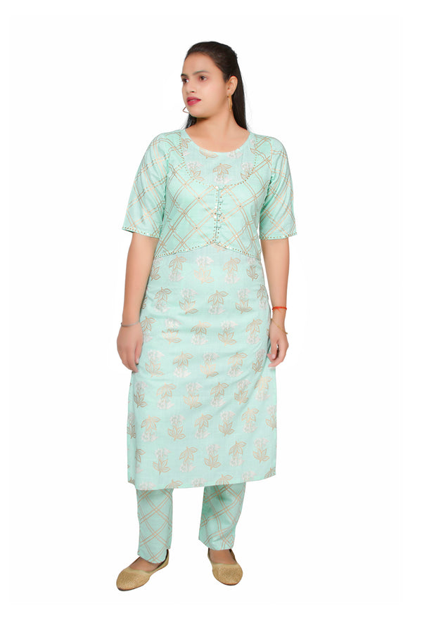 Turquoise Blue Straight Ethnic Suit
