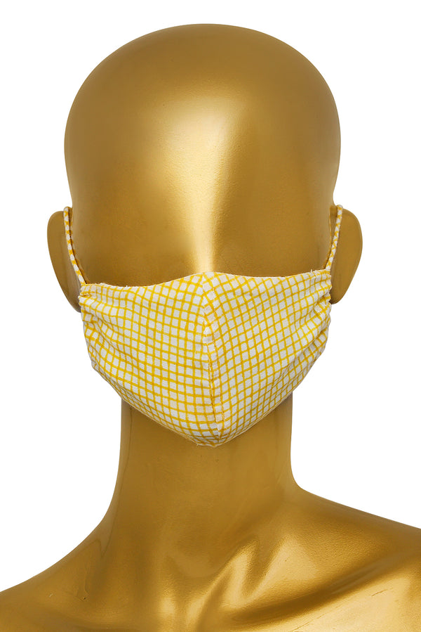 Yellow Face Mask - Checkered