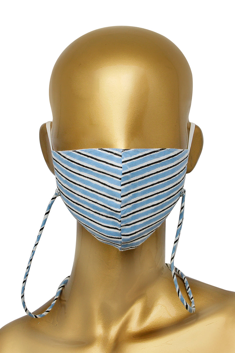 Blue Face Mask - Striped