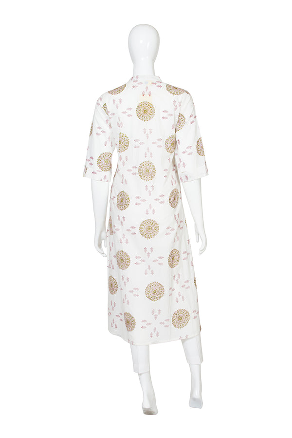 White Kurti - War Wheel Side Slit