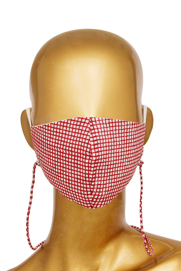 Maroon Face Mask - Checkered