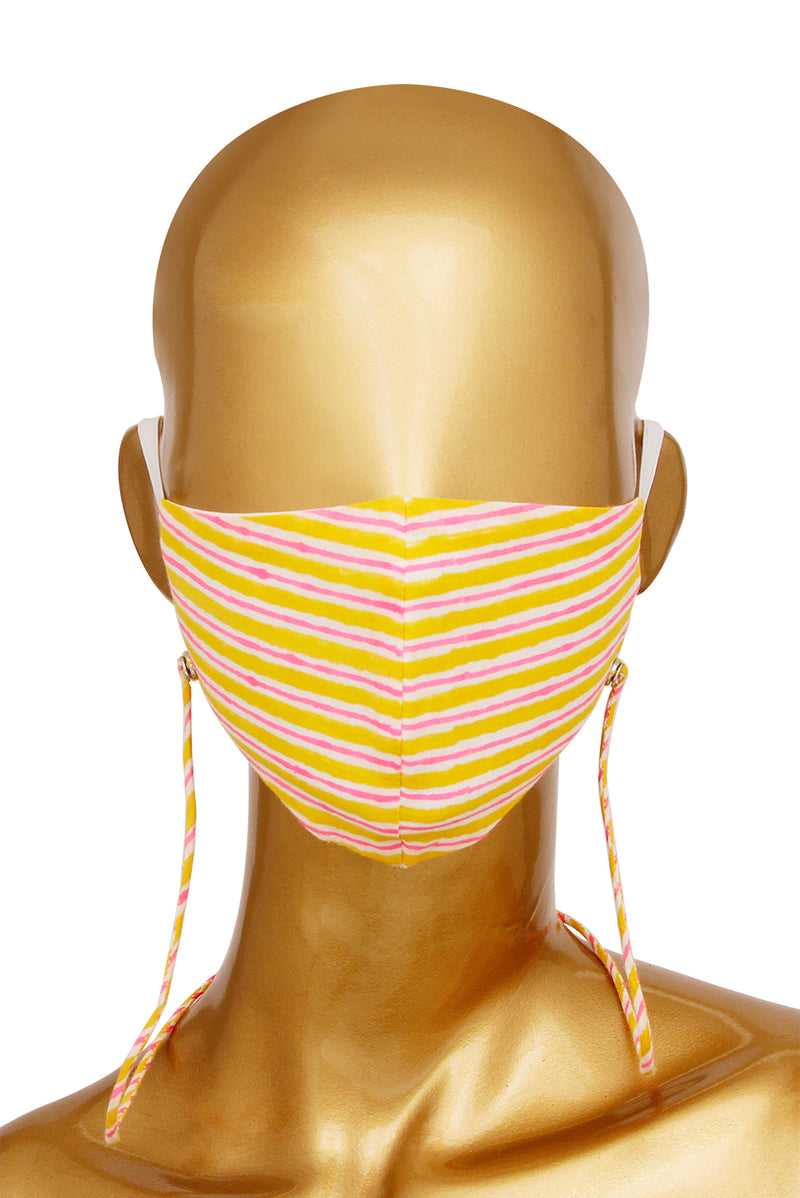 Orange Face Mask - Striped