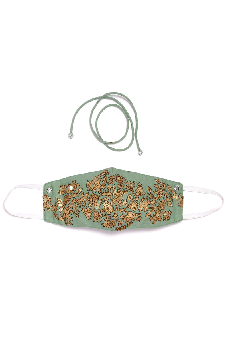 Green Face Mask - Gold Floral Embroidered