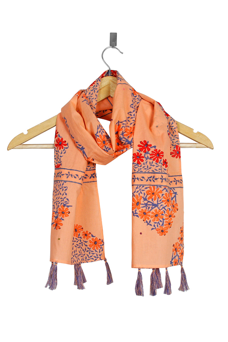 Orange Stole - Red Daisy