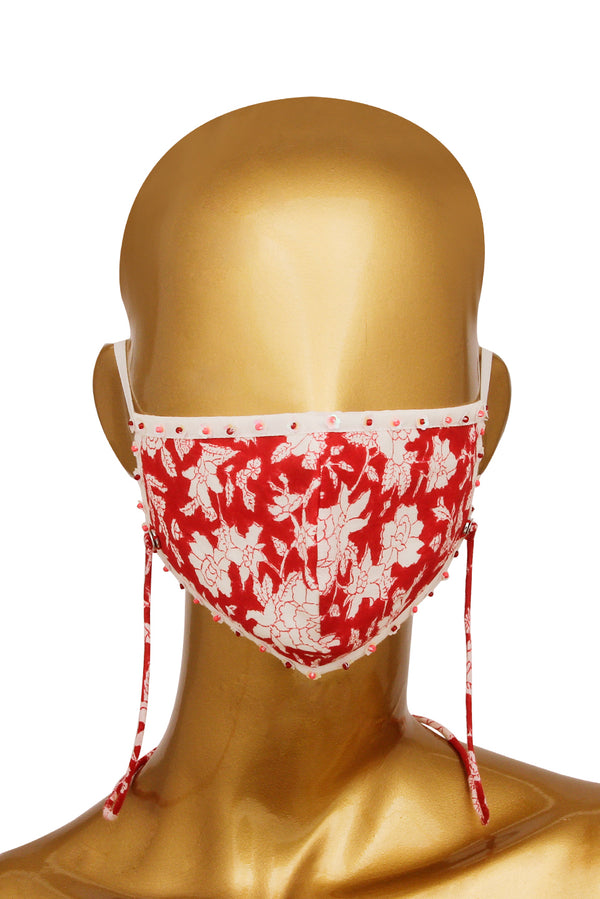 Red Face Mask - Tsunami Embroidered