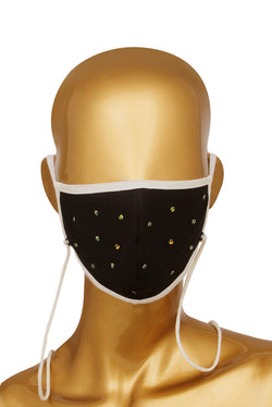 Black Face Mask - Embroidered