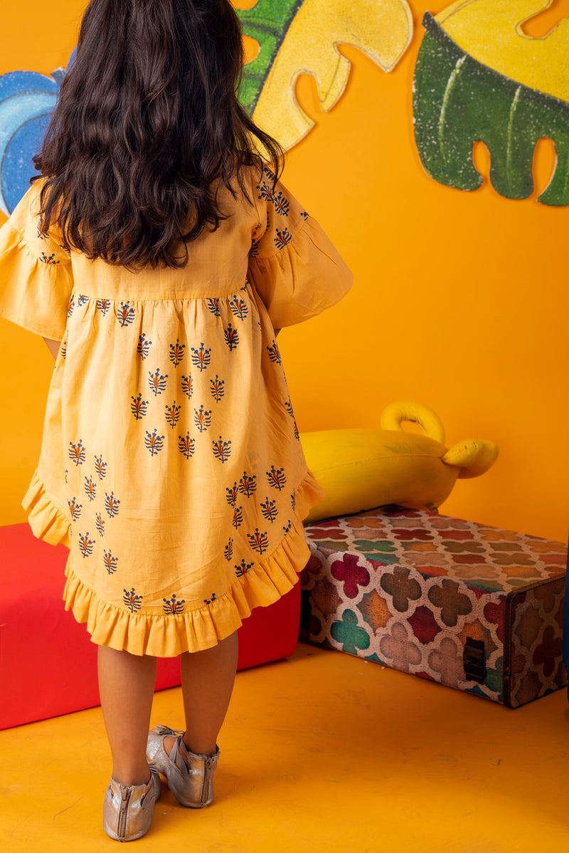 Yellow Frock - Bee Hive Apricot Gathered