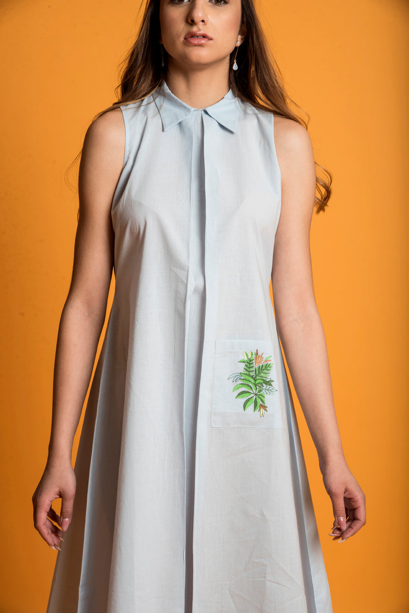 Blue Dress - Tropical Leaf Shift