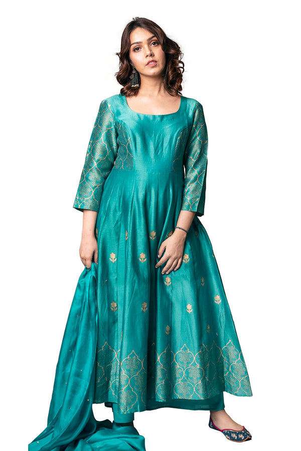 Green Anarkali Suit - Emerald Jharokha