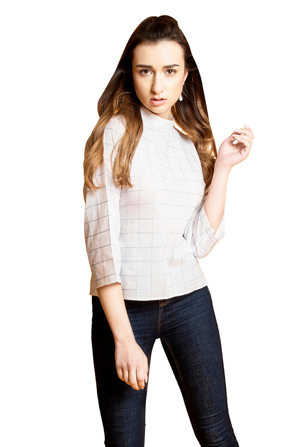 White Top - Checkered Quarter Sleeve