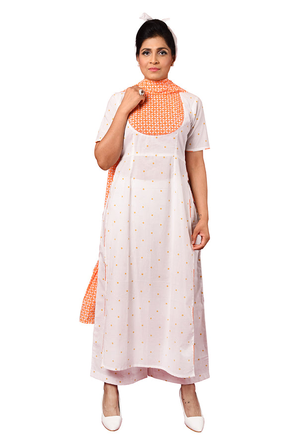 White Suit - Orange Mustered Polka Dot Straight