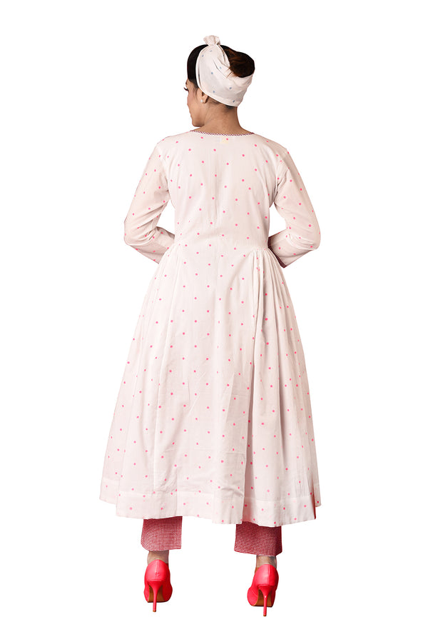 White Anarkali Suit - Pink Polka